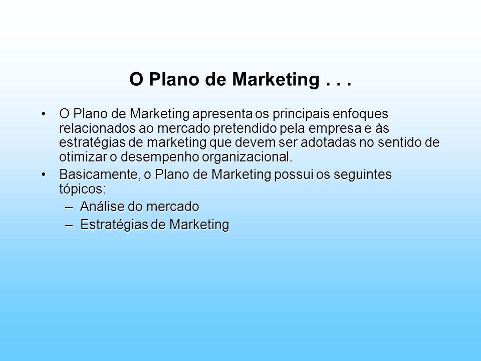 O Plano de Marketing... O Plano de Marketing apresenta os principais enfoques relacionados ao mercado pretendido pela empresa e às estratégias de mark