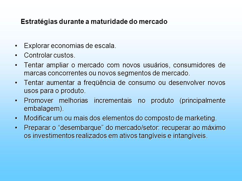 Estratégias durante a maturidade do mercado Explorar economias de escala.Explorar economias de escala. Controlar custos.Controlar custos. Tentar ampli