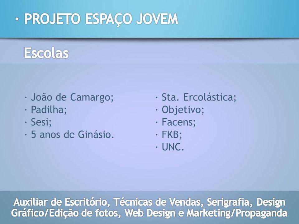 · João de Camargo; · Padilha; · Sesi; · 5 anos de Ginásio. · Sta. Ercolástica; · Objetivo; · Facens; · FKB; · UNC.