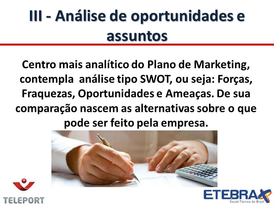 III - Análise de oportunidades e assuntos Centro mais analítico do Plano de Marketing, contempla análise tipo SWOT, ou seja: Forças, Fraquezas, Oportu