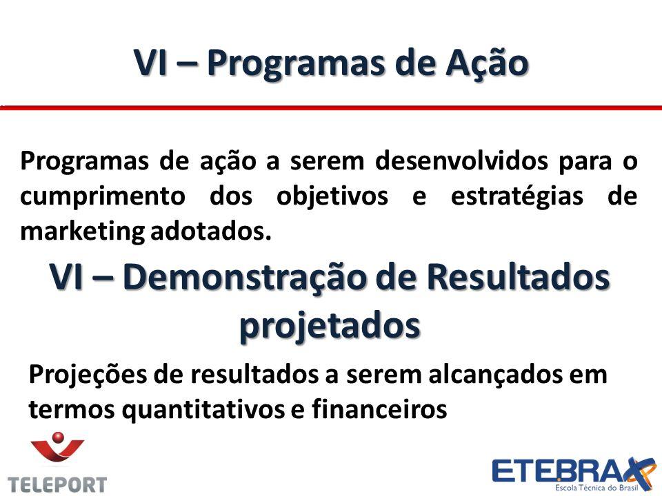 VI – Programas de Ação Programas de ação a serem desenvolvidos para o cumprimento dos objetivos e estratégias de marketing adotados. VI – Demonstração