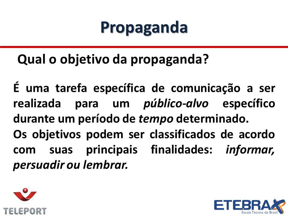 Propaganda Qual o objetivo da propaganda? É uma tarefa específica de comunicação a ser realizada para um público-alvo específico durante um período de