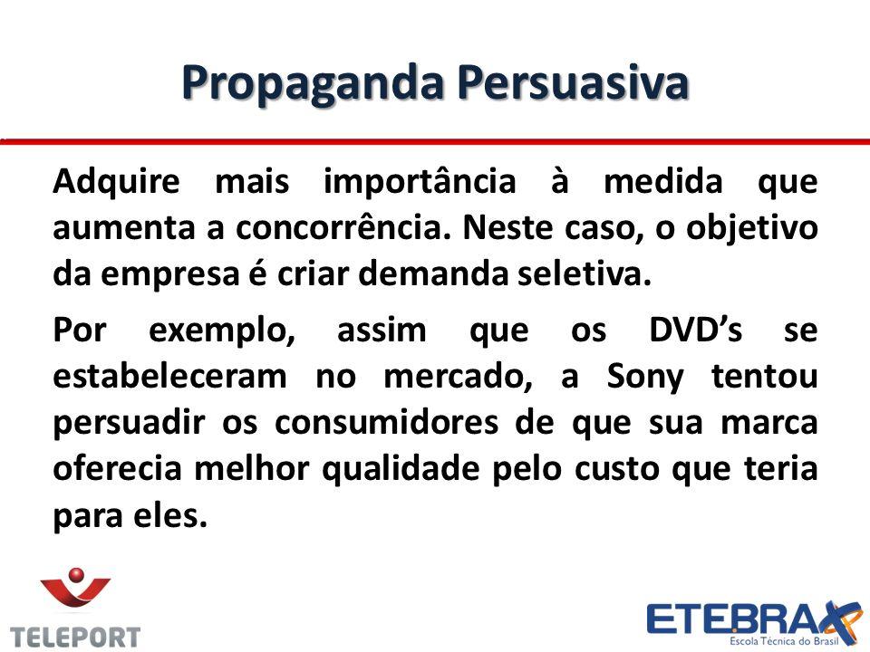 Propaganda Persuasiva Adquire mais importância à medida que aumenta a concorrência. Neste caso, o objetivo da empresa é criar demanda seletiva. Por ex