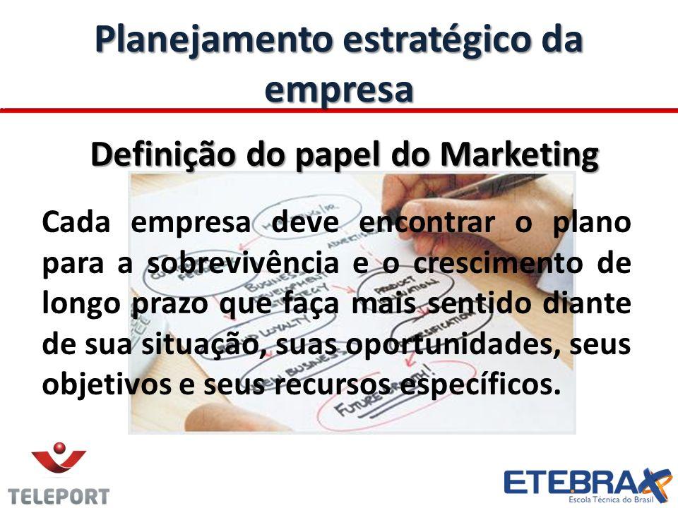 Planejamento estratégico da empresa Planejamento estratégico da empresa Definição do papel do Marketing Cada empresa deve encontrar o plano para a sob