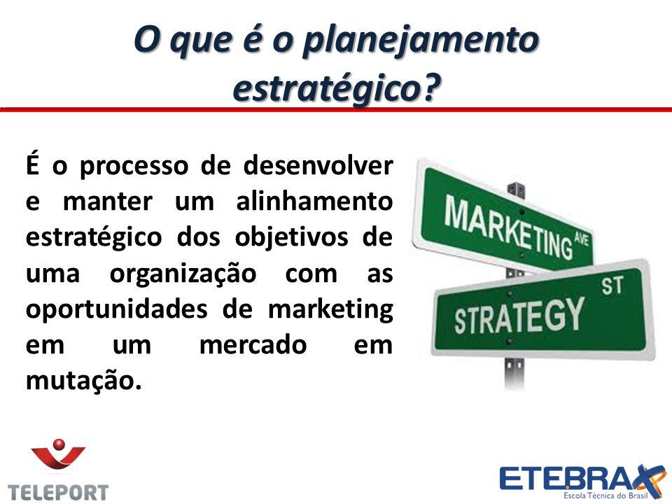O que é o planejamento estratégico? É o processo de desenvolver e manter um alinhamento estratégico dos objetivos de uma organização com as oportunida