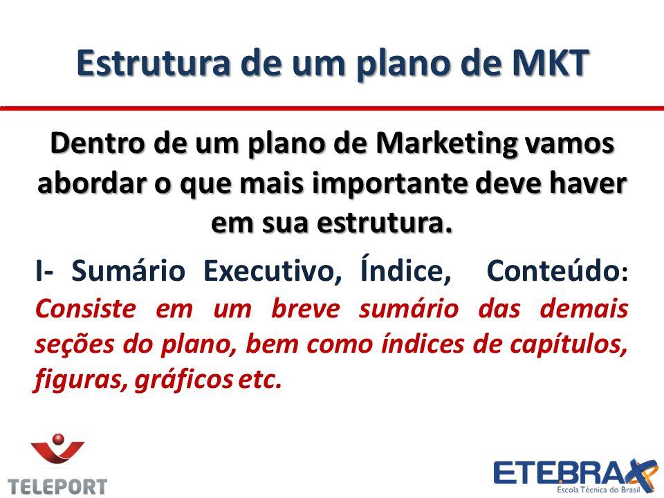 Estrutura de um plano de MKT Dentro de um plano de Marketing vamos abordar o que mais importante deve haver em sua estrutura. I- Sumário Executivo, Ín
