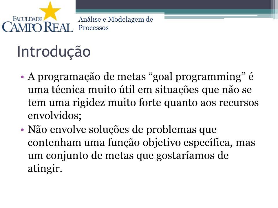 Análise e Modelagem de Processos Introdução A programação de metas goal programming é uma técnica muito útil em situações que não se tem uma rigidez m