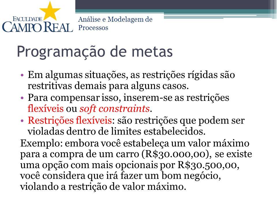 Análise e Modelagem de Processos Programação de metas Em algumas situações, as restrições rígidas são restritivas demais para alguns casos. Para compe