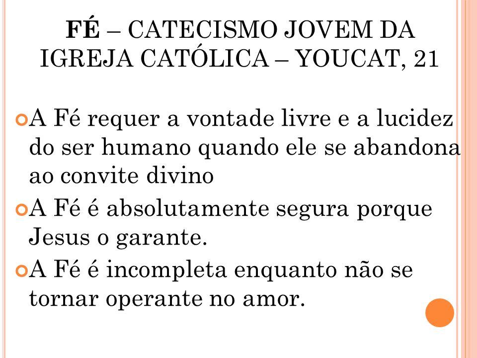 FÉ – CATECISMO JOVEM DA IGREJA CATÓLICA – YOUCAT, 21 FÉ É CONHECIMENTO E CONFIANÇA. TEM SETE CARACTERÍSTICAS: A Fé é uma pura dádiva de Deus, que nós