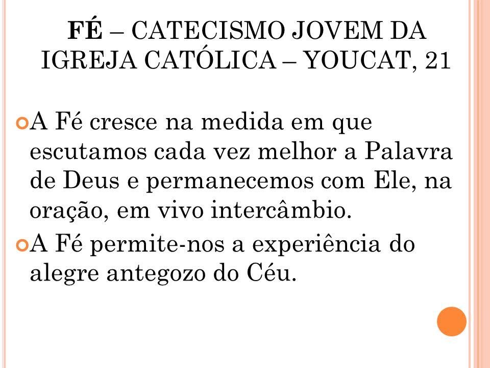 FÉ – CATECISMO JOVEM DA IGREJA CATÓLICA – YOUCAT, 21 A Fé requer a vontade livre e a lucidez do ser humano quando ele se abandona ao convite divino A