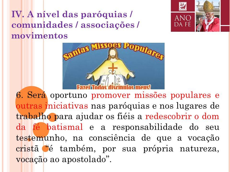 5. Deseja-se que nas paróquias haja um empenho renovado na difusão e na distribuição do Catecismo da Igreja Católica ou de outros subsídios adequados