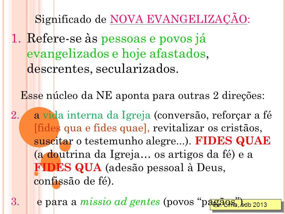 Pe. Lima, sdb 2013 O tema do Sínodo: Nova Evangelização para a transmissão da Fé. O problema da evangelização é vasto e engloba toda a atividade da Ig