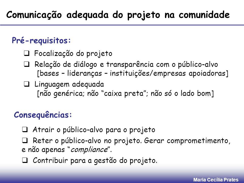 Maria Cecília Prates Comunicação adequada do projeto na comunidade Pré-requisitos: Focalização do projeto Relação de diálogo e transparência com o púb