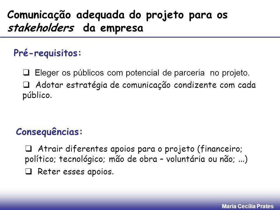 Maria Cecília Prates Comunicação adequada do projeto para os stakeholders da empresa Pré-requisitos: Eleger os públicos com potencial de parceria no p