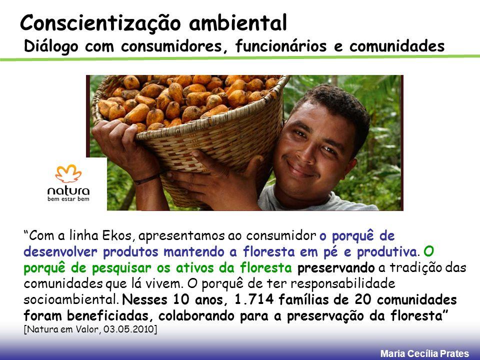Maria Cecília Prates Conscientização ambiental Diálogo com consumidores, funcionários e comunidades Com a linha Ekos, apresentamos ao consumidor o por