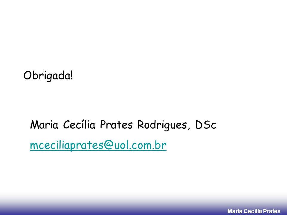 Maria Cecília Prates Obrigada! Maria Cecília Prates Rodrigues, DSc mceciliaprates@uol.com.br