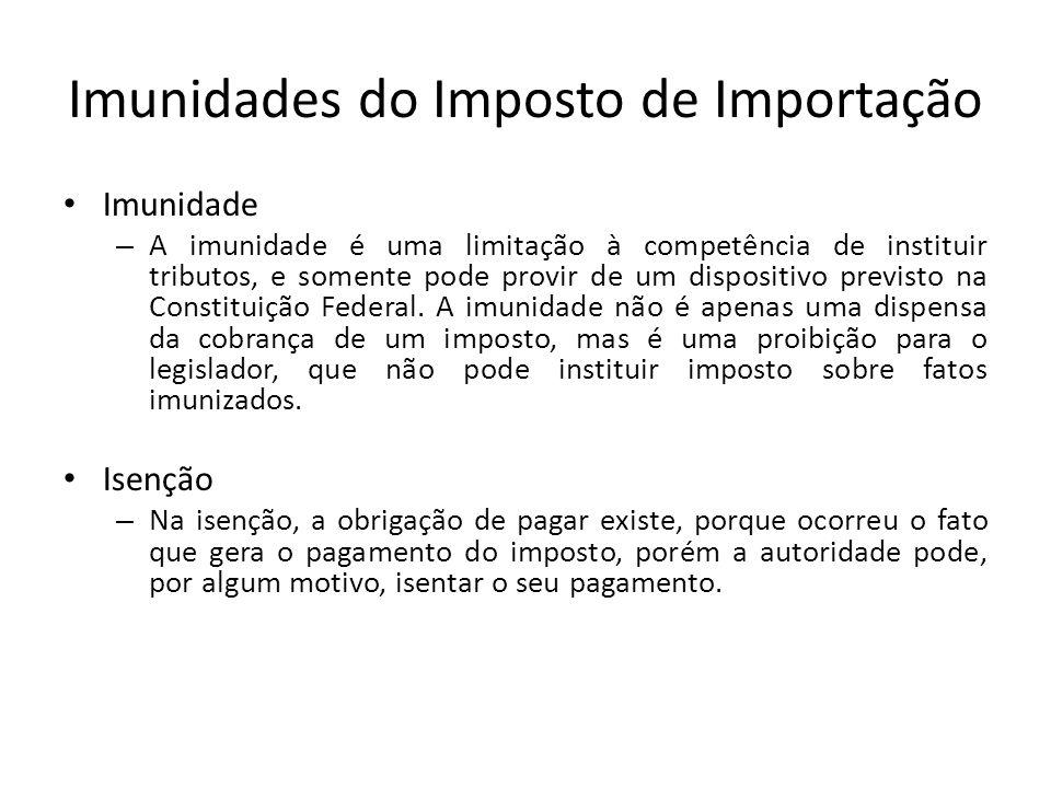 Imunidades do Imposto de Importação Imunidade – A imunidade é uma limitação à competência de instituir tributos, e somente pode provir de um dispositivo previsto na Constituição Federal.