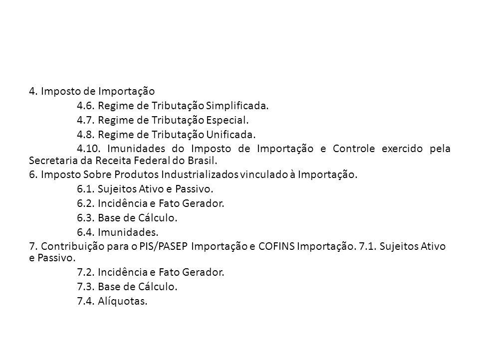 4.Imposto de Importação 4.6. Regime de Tributação Simplificada.