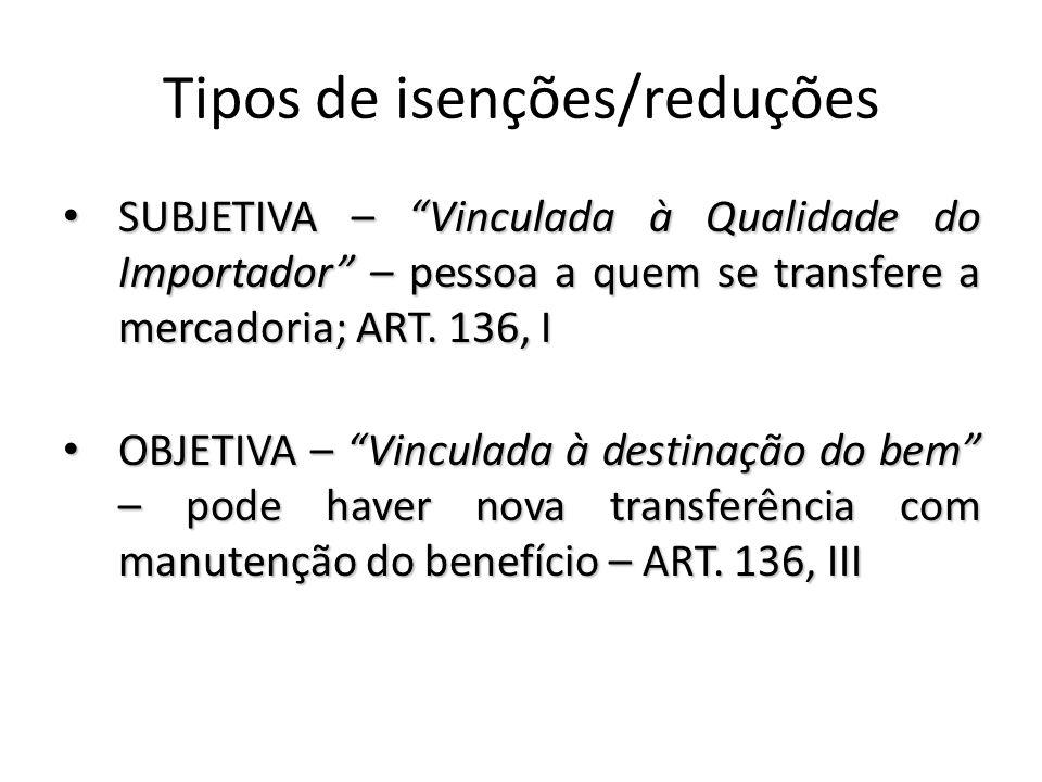 Tipos de isenções/reduções SUBJETIVA – Vinculada à Qualidade do Importador – pessoa a quem se transfere a mercadoria; ART.