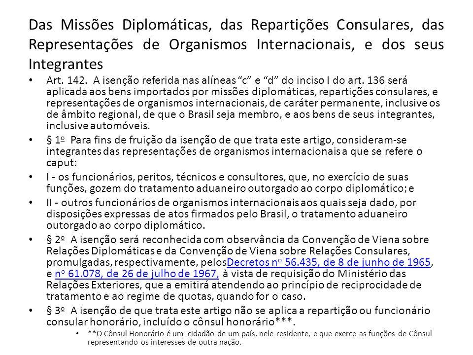 Das Missões Diplomáticas, das Repartições Consulares, das Representações de Organismos Internacionais, e dos seus Integrantes Art.
