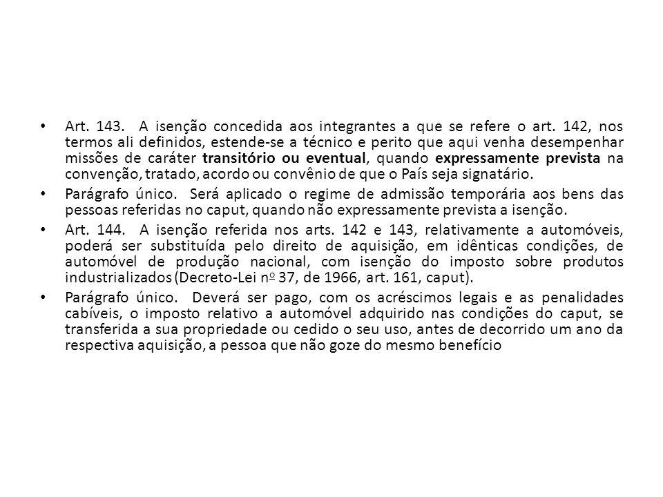 Art.143. A isenção concedida aos integrantes a que se refere o art.