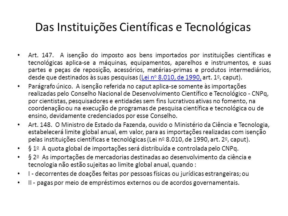 Das Instituições Científicas e Tecnológicas Art.147.