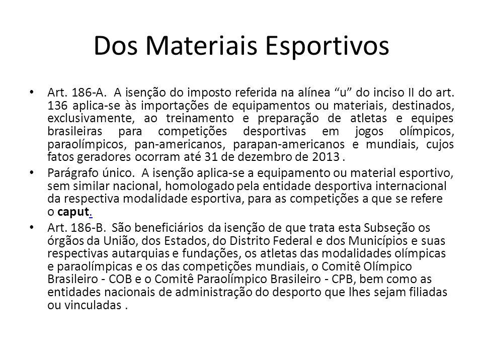 Dos Materiais Esportivos Art.186-A. A isenção do imposto referida na alínea u do inciso II do art.
