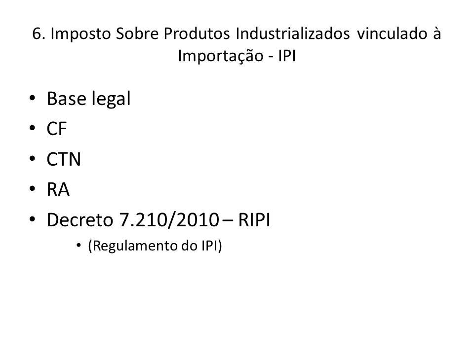 6. Imposto Sobre Produtos Industrializados vinculado à Importação - IPI Base legal CF CTN RA Decreto 7.210/2010 – RIPI (Regulamento do IPI)