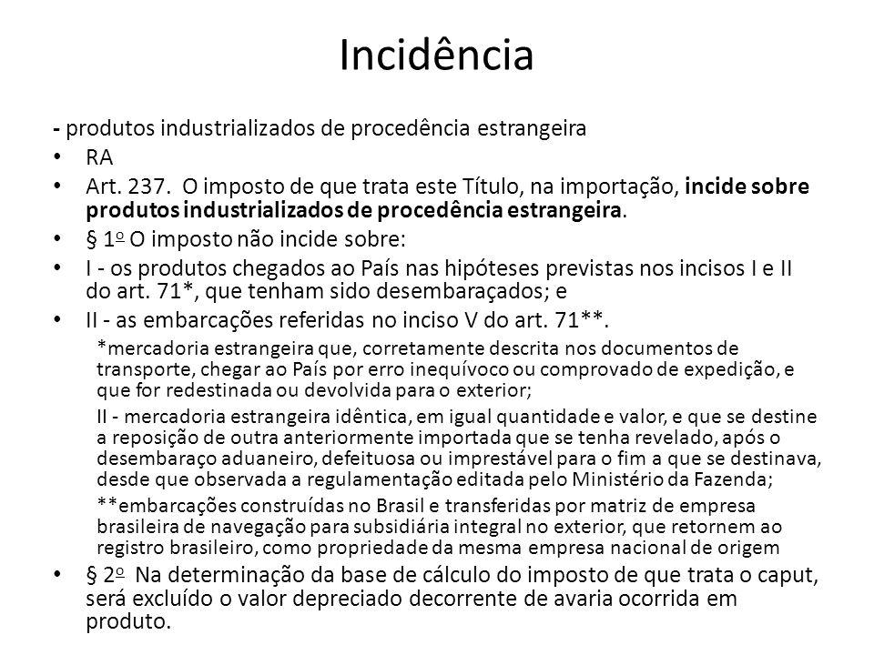 Incidência - produtos industrializados de procedência estrangeira RA Art.