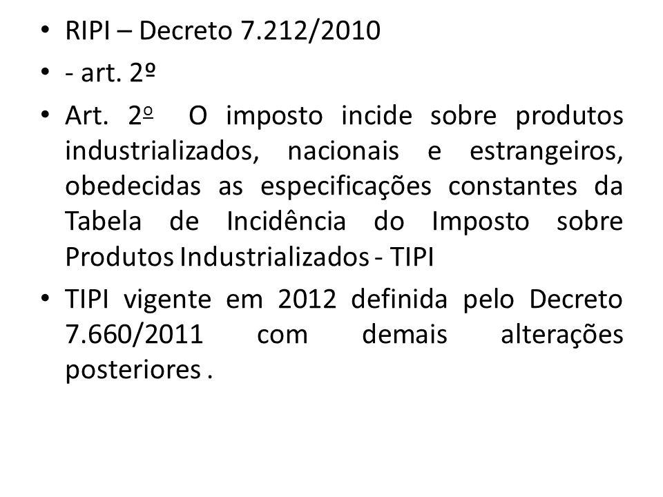 RIPI – Decreto 7.212/2010 - art.2º Art.
