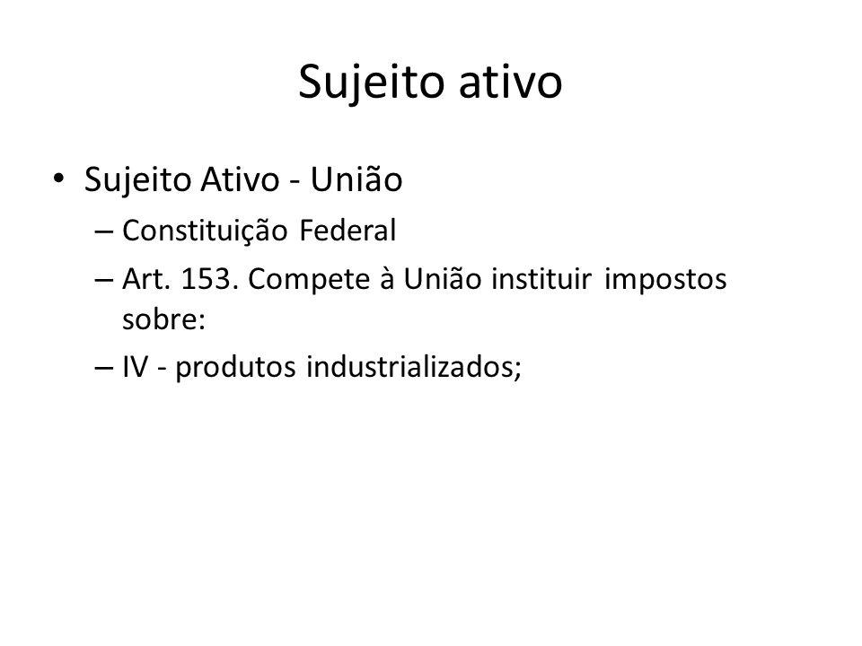 Sujeito ativo Sujeito Ativo - União – Constituição Federal – Art.