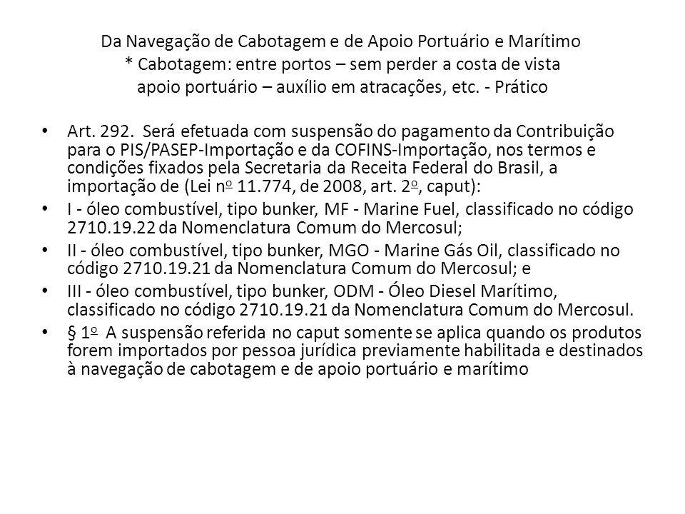 Da Navegação de Cabotagem e de Apoio Portuário e Marítimo * Cabotagem: entre portos – sem perder a costa de vista apoio portuário – auxílio em atracações, etc.