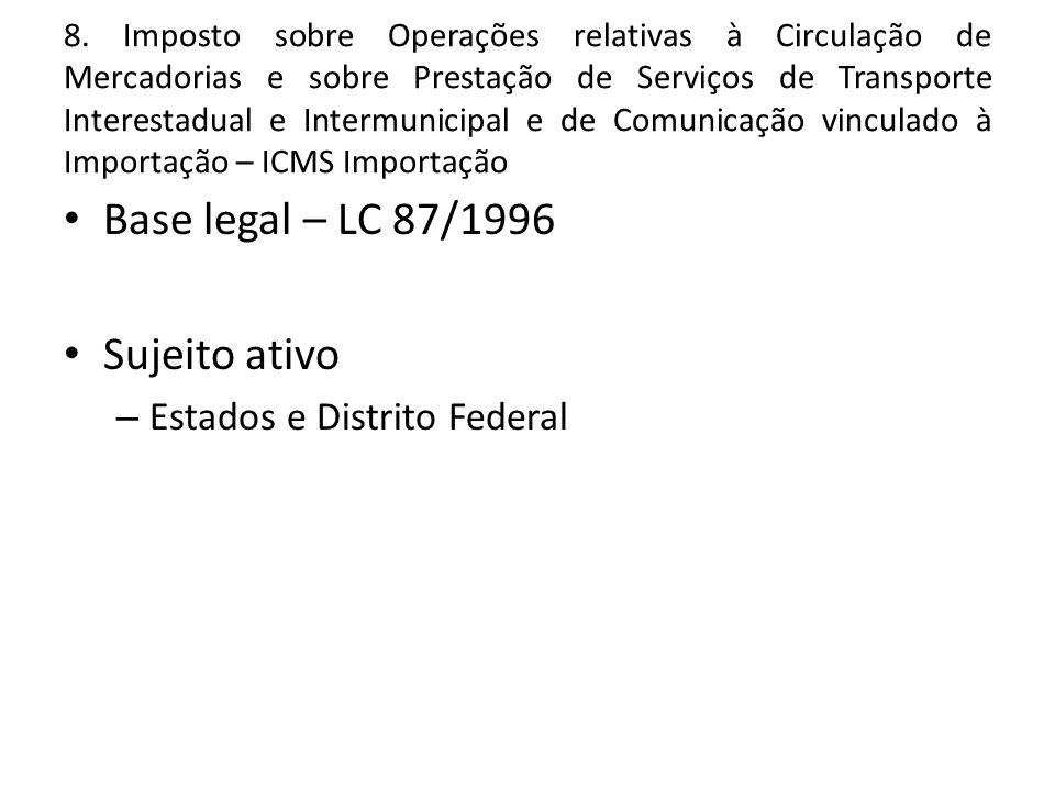 8. Imposto sobre Operações relativas à Circulação de Mercadorias e sobre Prestação de Serviços de Transporte Interestadual e Intermunicipal e de Comun