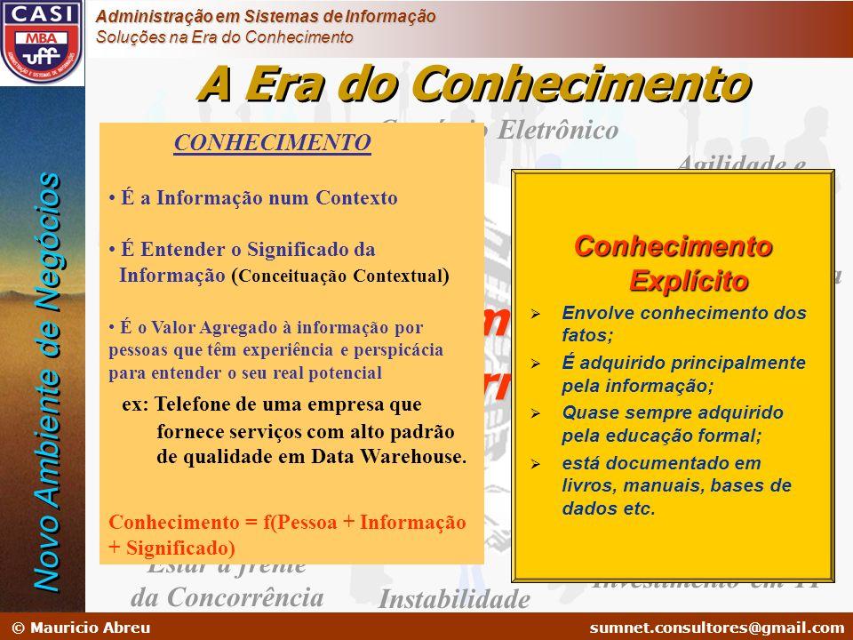 sumnet@microlink.com.br © Mauricio Abreusumnet.consultores@gmail.com Administração em Sistemas de Informação Soluções na Era do Conhecimento Globaliza