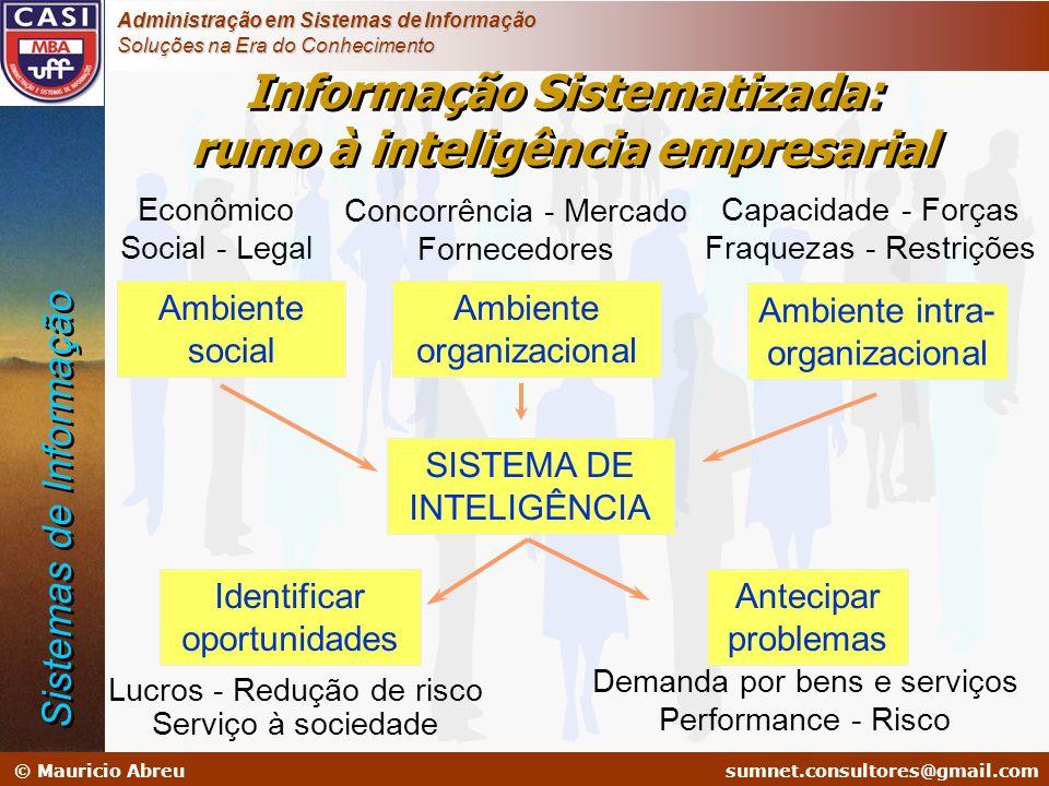 sumnet@microlink.com.br © Mauricio Abreusumnet.consultores@gmail.com Administração em Sistemas de Informação Soluções na Era do Conhecimento Informaçã