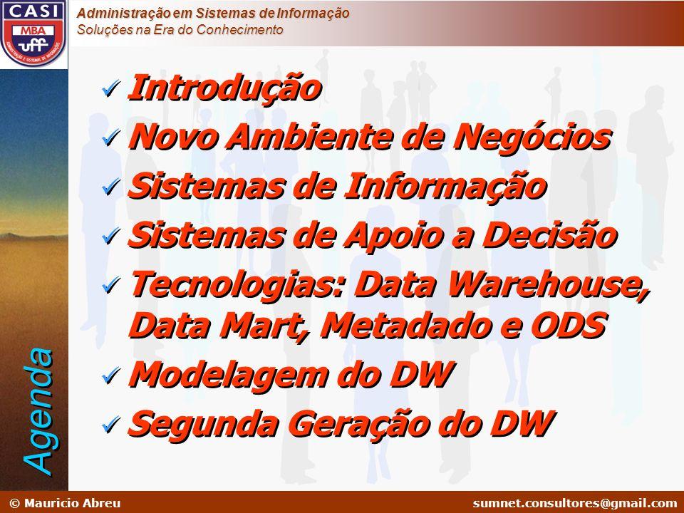 sumnet@microlink.com.br © Mauricio Abreusumnet.consultores@gmail.com Administração em Sistemas de Informação Soluções na Era do Conhecimento NECESSIDADES Mapeamento de necessidades de negócio Definição de objetivos do DataWarehouse PROJETO DW Mapeamento de Informações Legadas Modelagem Multidimensional Capacity Planning Hw - Sw -SGBDs ACESSO OLAP DSS / EIS WEB REPORT DATABASE MARKETING Data Mining IMPLEMENTAÇÃO Análise de Risco Validação Integração SEGURANÇA Recuperação Monitoração Tunning PREPARAÇÃO Cleaning Extração Transformação Integração Metodologia de Desenvolvimento Análise de Necessidades Modelagem Multidimensional Planejamento de Capacidade Limpeza dos Sistemas Legados Extração de Dados Transformação de Dados Carga Gerencia de Metadados Seleção de Ferramentas Prototipação Implantação de Data Mart Data Mining Organiza as atividades buscando uma seqüência de passos para a implantação de uma arquitetura com sucesso.