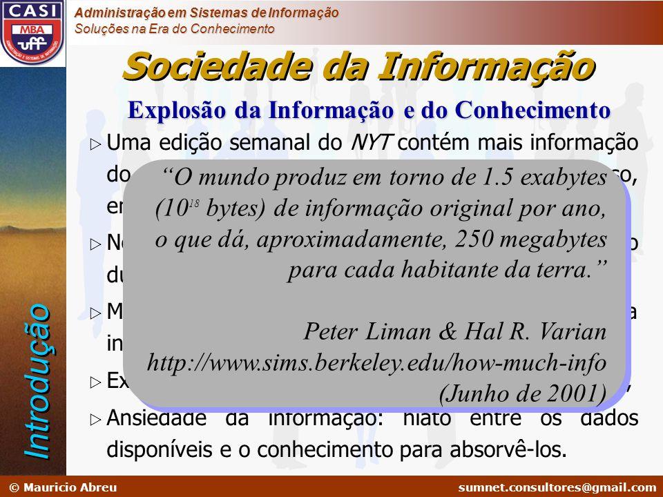 sumnet@microlink.com.br © Mauricio Abreusumnet.consultores@gmail.com Administração em Sistemas de Informação Soluções na Era do Conhecimento Sistemas de Nível Operacional (SPT) Sistemas de Informação (SI) Sistemas de Informação Gerencial (SIG) Sistemas de Informação Executiva Sistemas de Informação Empresarial Operacional Tático (Análise do Negócio) Estratégico (Gestão do Negócio) SAD Sistemas de Informação Empresarial Vantagem Competitiva Importância da IE Dados e Informações