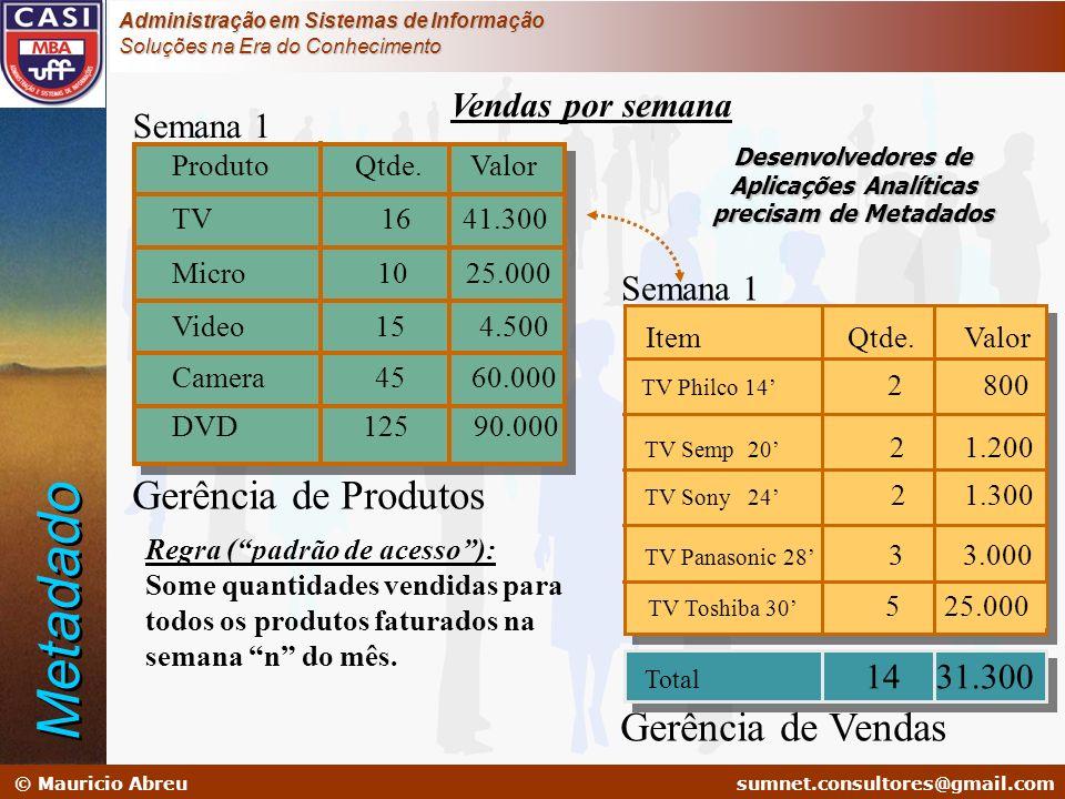 sumnet@microlink.com.br © Mauricio Abreusumnet.consultores@gmail.com Administração em Sistemas de Informação Soluções na Era do Conhecimento Metadado