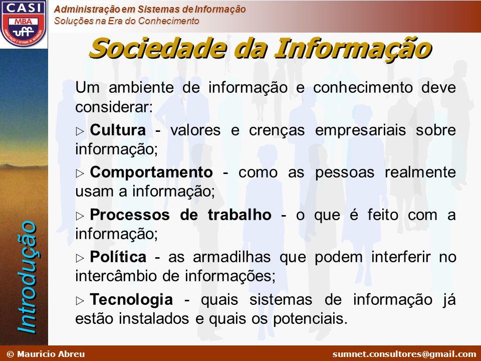 sumnet@microlink.com.br © Mauricio Abreusumnet.consultores@gmail.com Administração em Sistemas de Informação Soluções na Era do Conhecimento ESCOPO DO NEGÓCIO MODELO DA EMPRESA (Conceitual) MODELO LÓGICO MODELO FÍSICO IMPLEMENTAÇÃO Planejador Proprietário Projetista Construtor Subempreiteiro PESSOASTEMPOMOTIVAÇÃO QuemQuandoPorquê DADO FUNÇÃOREDE O Que Como Onde Arquitetura de Gestão do Conhecimento Extendida Novo Ambiente de Negócios