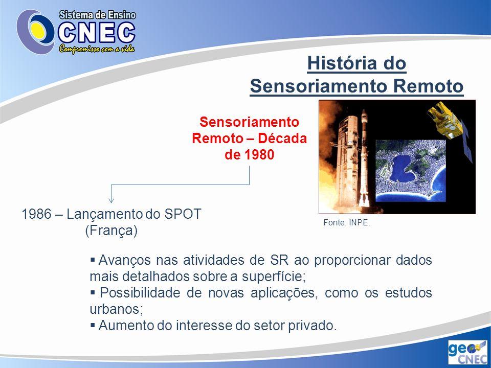 História do Sensoriamento Remoto Sensoriamento Remoto – Década de 1980 Início da cooperação Brasil – China para o desenvolvimento de dois satélites de SR Fonte: INPE.