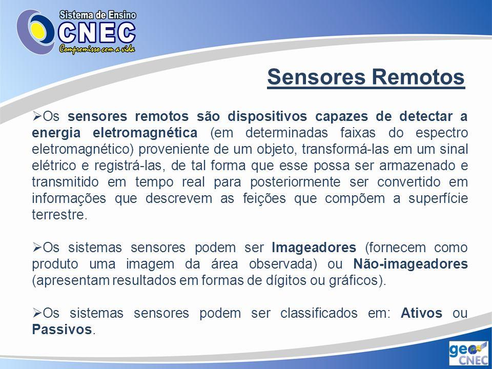 Sensores Remotos Características dos Sensores Remotos Resolução Espacial: representa a capacidade do sensor distinguir objetos.