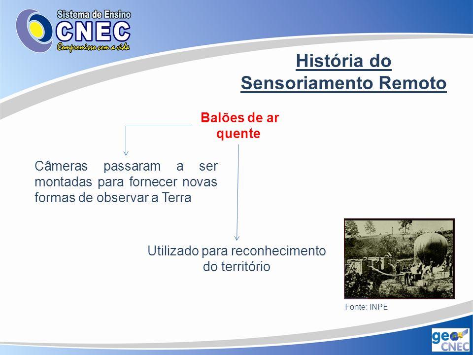 História do Sensoriamento Remoto Invenção do avião Obtenção de fotos aéreas I Guerra Mundial – expansão da prática com a intenção de monitorar o movimento das tropas inimigas Fonte: INPE