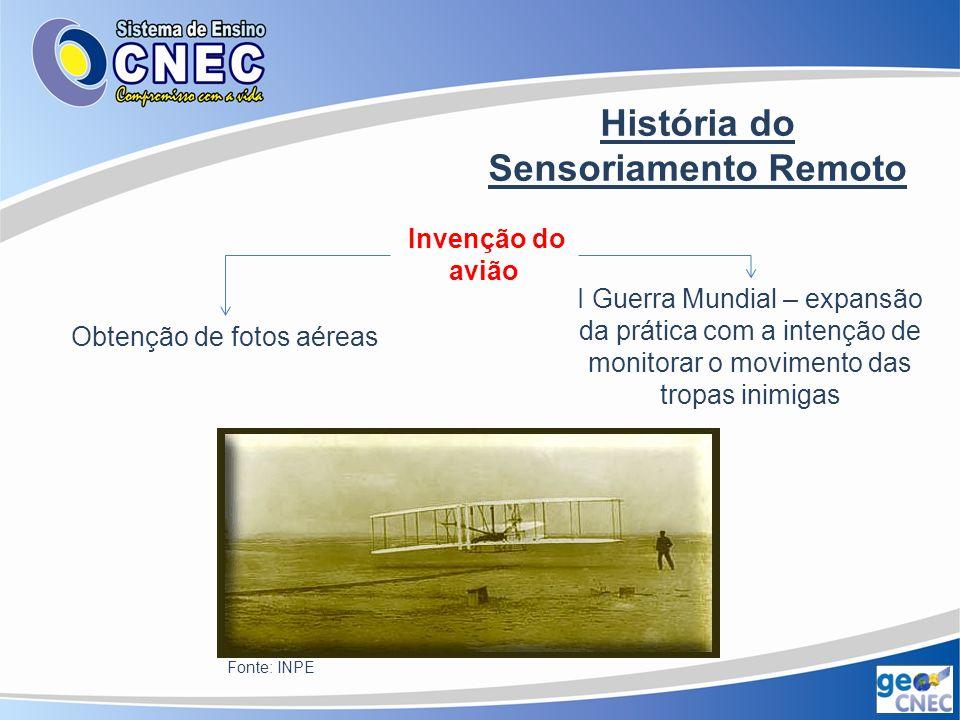 História do Sensoriamento Remoto II Guerra Mundial Avanços no uso das fotografias aéreas para o reconhecimento Aperfeiçoamento na compreensão do infra- vermelho e no uso do Radar Fonte: INPE