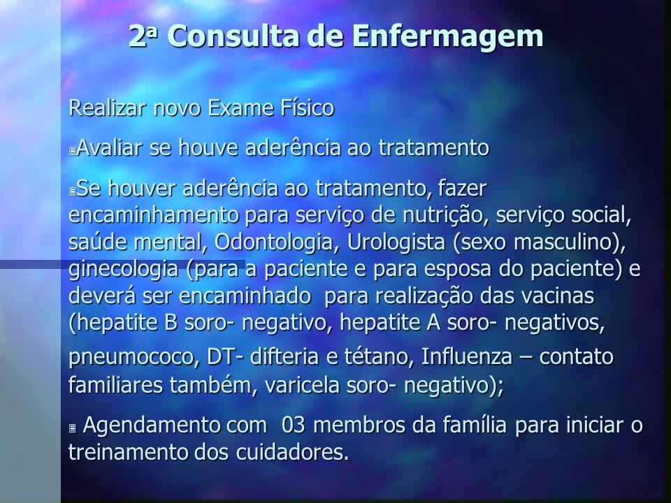 2 a Consulta de Enfermagem Realizar novo Exame Físico 3 Avaliar se houve aderência ao tratamento 3 Se houver aderência ao tratamento, fazer encaminham