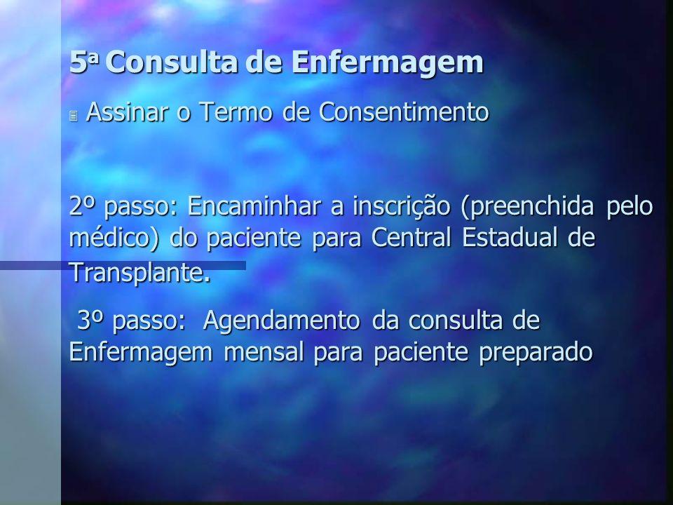 5 a Consulta de Enfermagem 3 Assinar o Termo de Consentimento 2º passo: Encaminhar a inscrição (preenchida pelo médico) do paciente para Central Estad