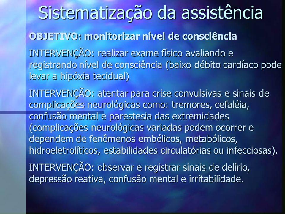 Sistematização da assistência OBJETIVO: monitorizar nível de consciência INTERVENÇÃO: realizar exame físico avaliando e registrando nível de consciênc