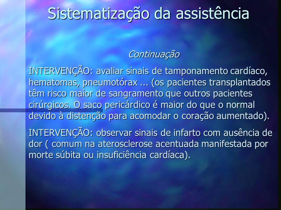 Continuação INTERVENÇÃO: avaliar sinais de tamponamento cardíaco, hematomas, pneumotórax... (os pacientes transplantados têm risco maior de sangrament