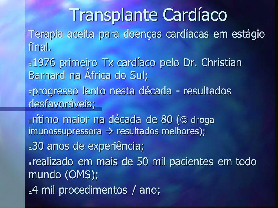 Transplante Cardíaco Terapia aceita para doenças cardíacas em estágio final. 3 1976 primeiro Tx cardíaco pelo Dr. Christian Barnard na África do Sul;