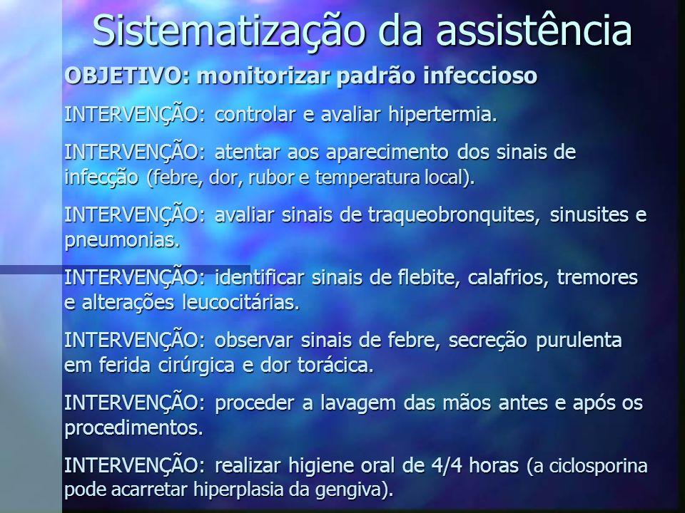 OBJETIVO: monitorizar padrão infeccioso INTERVENÇÃO: controlar e avaliar hipertermia. INTERVENÇÃO: atentar aos aparecimento dos sinais de infecção (fe