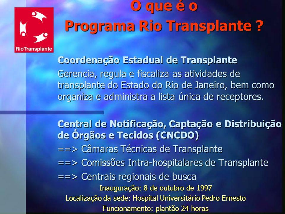 O que é o Programa Rio Transplante ? Coordenação Estadual de Transplante Gerencia, regula e fiscaliza as atividades de transplante do Estado do Rio de